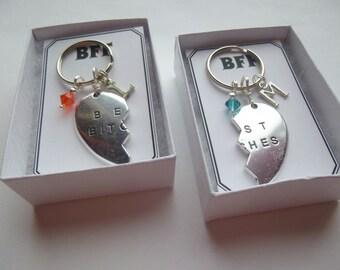 Personalized Birthstone Broken Heart Key Chains, Personalized Broken Heart Key Chain, Bff Key Chains, Best Friends Key Chains, Bff Gift, K10