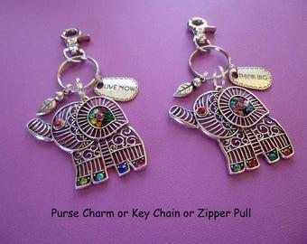 Elephant Key Chain, Antique Silver Rhinestone Elephant Purse Charm, Silver Rhinestone Elephant Zipper Pull, Elephant Keychain, Cute, K45