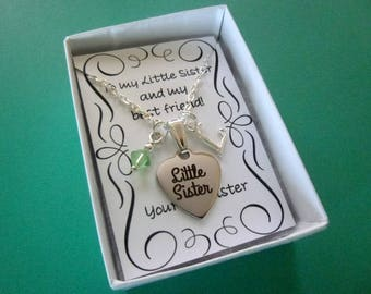 Personalized Little Sister Necklace With Birthstone, Personalized Necklace, Little Sister Necklace, Birthstone Necklace, N5