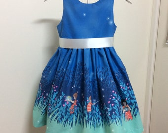 Tea Party dress with Wee Wander Fireflies border print in blue custom order