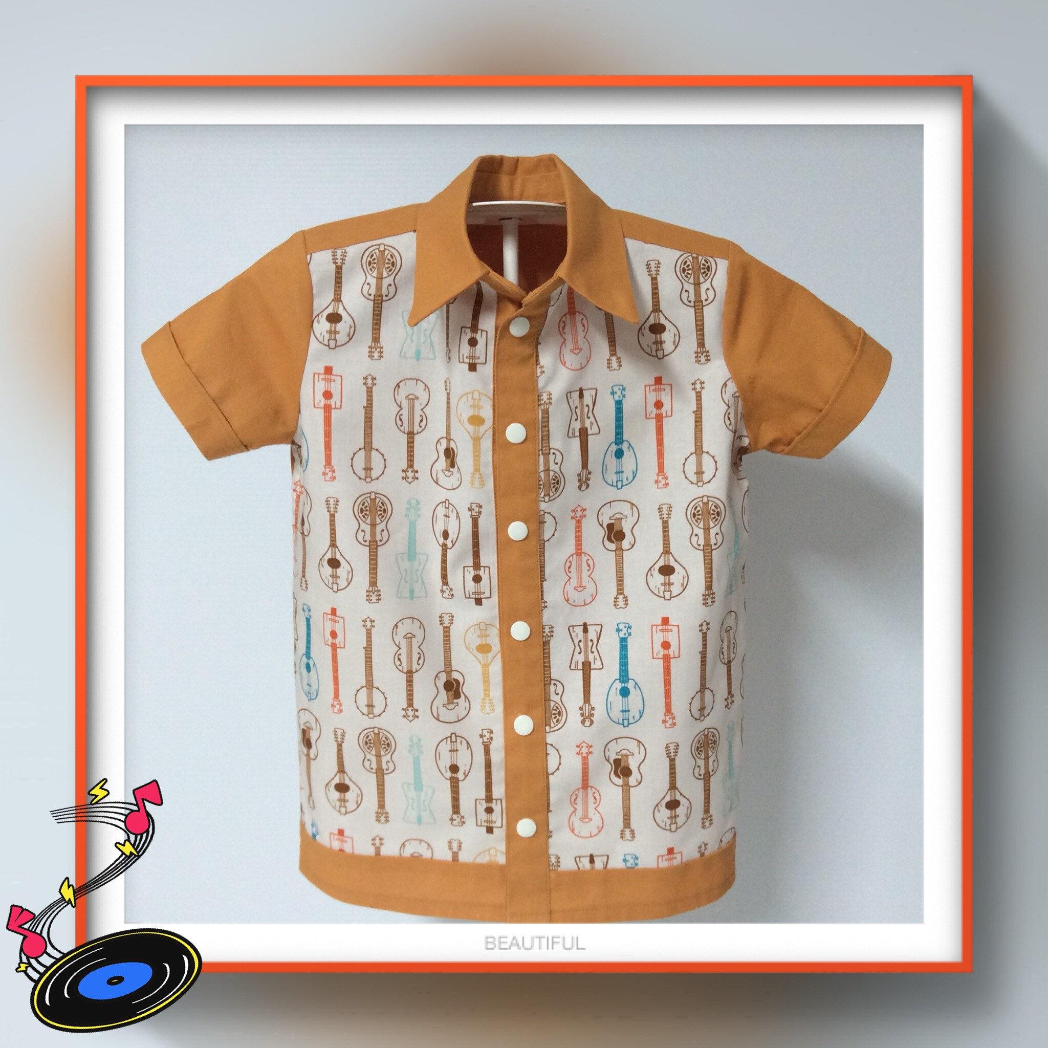 85442e1f3 Custom order boys button through retro style bowling shirt | Etsy