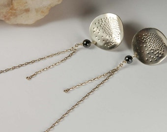Long Chain Earrings Handmade Textured Earrings Edgy Earrings Silver Chain Earrings Boho Jewelry Edgy Jewelry