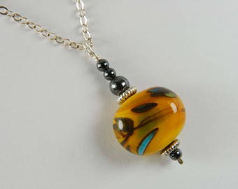 Orange Lampwork Necklace Earthy Necklace Boho Jewelry Orange Necklace Earthy Jewelry Gifts
