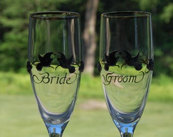 Vintage Bride and Groom Toasting Glasses  Champagne Flutes Wedding Toast Stemware