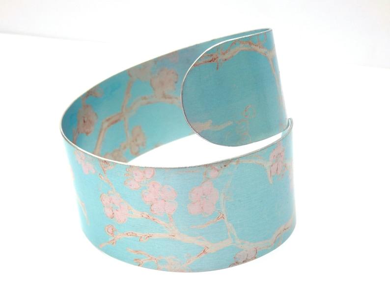 pink and blue cuff cherry blossom jewellery pink flower bangle pale blue bracelet Blue bangle spiral cuff