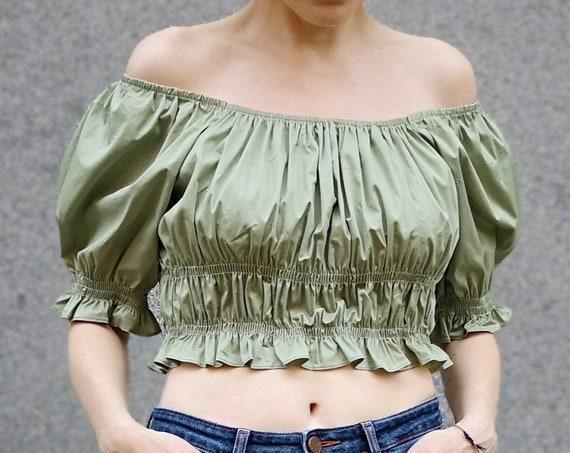 Sage Green Crop Top, Renaissance Blouse, Puff Sleeve Blouse, Summer Crop Top