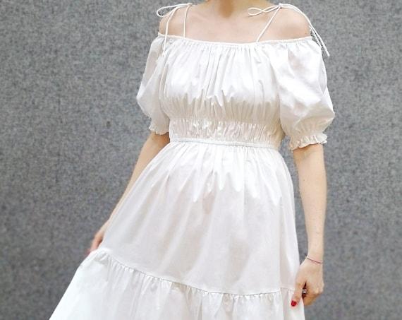 Renaissance Style Dress, Summer Cocktail Dress, Balloon Sleeve Dress, White Maxi Dress
