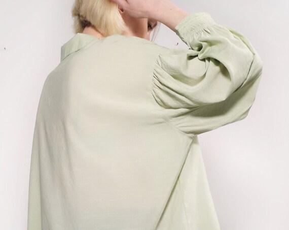 Edwardian blouse, Puff Sleeve Blouse, Powder color Blouse Boheme, Poet  oversized Blouse