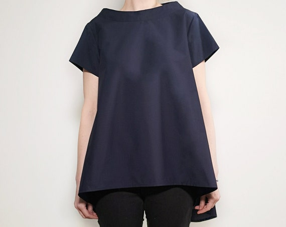 Blue Asymmetric Tunic, Blue Maxi Top, Extravagant Everyday Blouse, Black Casual Loose Shirt