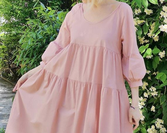 Pink maxi dress, Summer cocktail dress, Tiered balloon sleeve dress