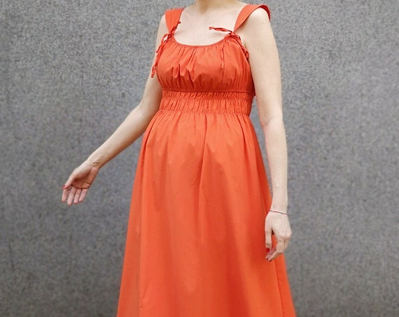 Summer Cocktail Dress, Orange Maxi Dress, Long Sleeveless Dress