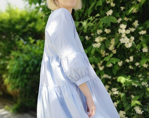 Maxi dress with puffy sleeves, Summer cocktail dress, Tiered balloon sleeve dress