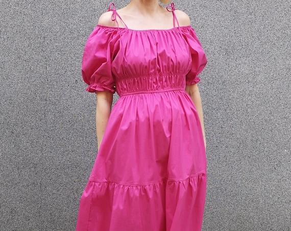 Renaissance Style Dress, Summer Cocktail Dress, Balloon Sleeve Dress, Fuchsia Maxi Dress
