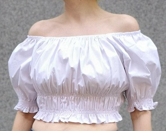White Crop Top, Renaissance Blouse, Puff Sleeve Blouse, Summer Crop Top