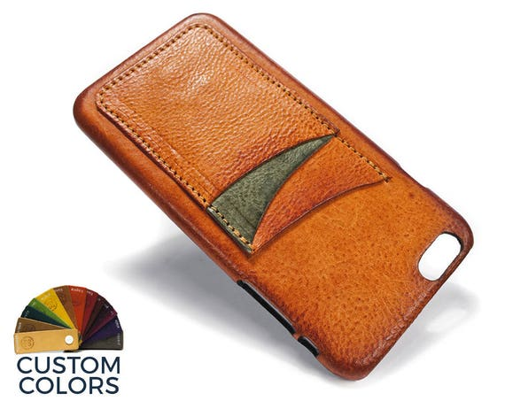 "NEW iPhone 8 or 7 or 6 all PLUS 5.5"" leather credit card case (choose color of Accent) col BRANDY"