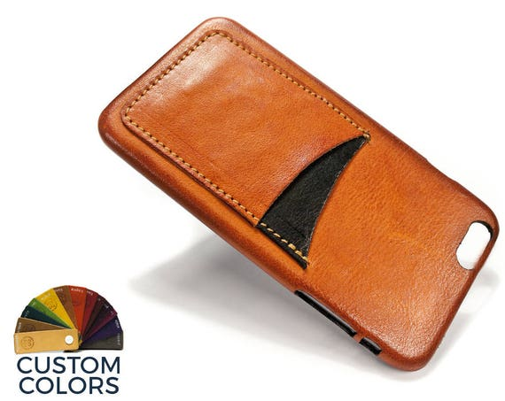 "NEW iPhone 8 or 7 or 6 PLUS 5.5"" leather credit card case (choose color of Accent) col BRANDY"