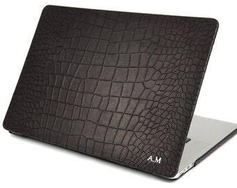 MacBook 11/12/13/15/16 Calfskin Alligator Pattern Top and Back case made by genuine Italian leather as protection choose Device and Body
