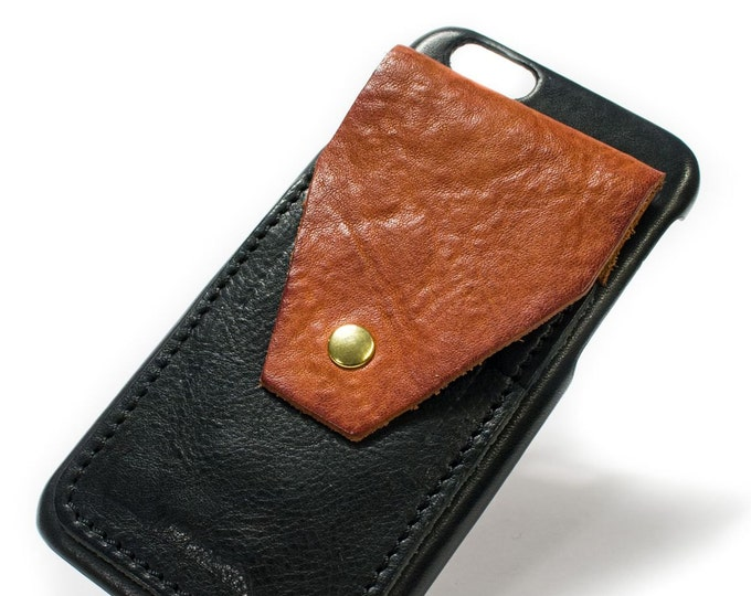 """iPhone SE 2020 or 8 and 7 display 4.7"""" Italian Leather Case with 3 credit cards SLOTs and a flap choose the color of BODY and ACCENT"""