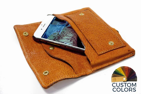 iPhone XS/XS Max/XR/X or 8 leather wallet Genuine Leather Sleeve for use as a belt pouch credit cards col Choose