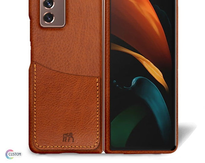 Samsung Galaxy Z FOLD 2 Leather Case genuine natural leather 1 credit card slot TYPE 1 to use as protection colour CHOOSE