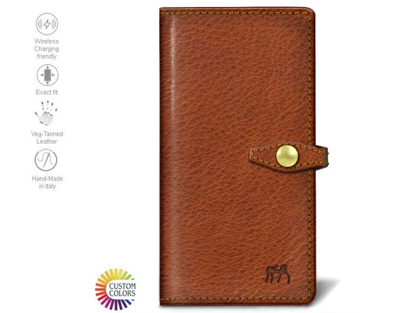 iPhone Xs Xs Max Xr X 8 7 6S SE Leather Case Italian Leather with credit card and banknote holder Flip Book color to CHOOSE
