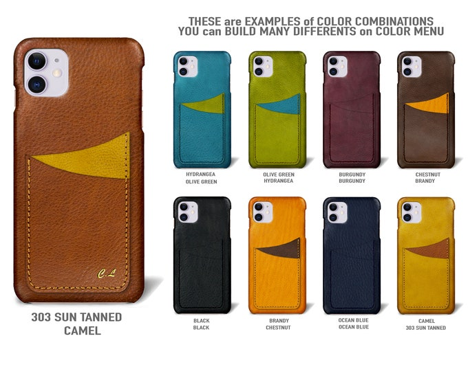 "iPhone 11  display 6.1"" leather case 2 vertical card slots Type 1 choose colors"
