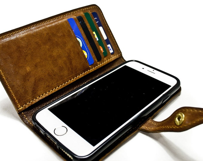 iPhone 7 6S SE 5S 6S Plus 5C Leather Case Washed Leather Aged with credit card and banknote holder Flip Book color CHOOSE