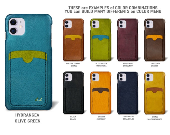 "iPhone 11  display 6.1"" leather case 2 vertical card slots Type 2 choose colors"