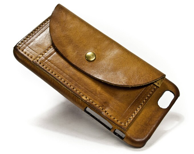 iPhone 11/X/8/7/6S Leather Case handmade in Italy with 2 credit cards holders and a flap Device and Colour to CHOOSE