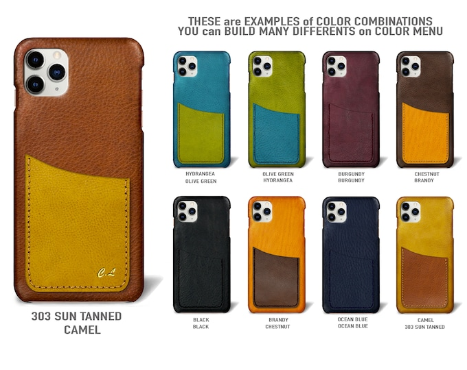 "iPhone 11 Pro Max display 6.5"" leather case 1 vertical card slots Type 1 choose colors"