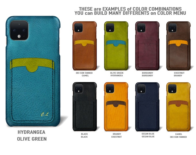 Goole Pixel 4 (smaller one) Italian Leather Case 2 vertical card slots Type 2 to use as protection Choose COLORS