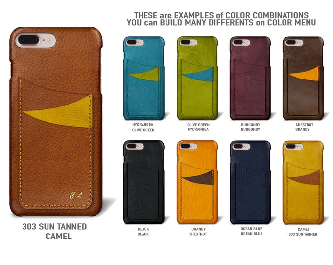 "iPhone 8 and 7 display 4.7"" Italian Leather Case with 3 vertical SLOTs Type 1 choose the color of BODY and ACCENT"