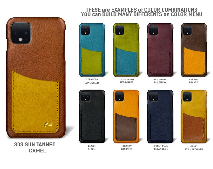 Goole Pixel 4 (smaller one) Italian Leather Case 1 vertical card slot Type 1 to use as protection Choose COLORS
