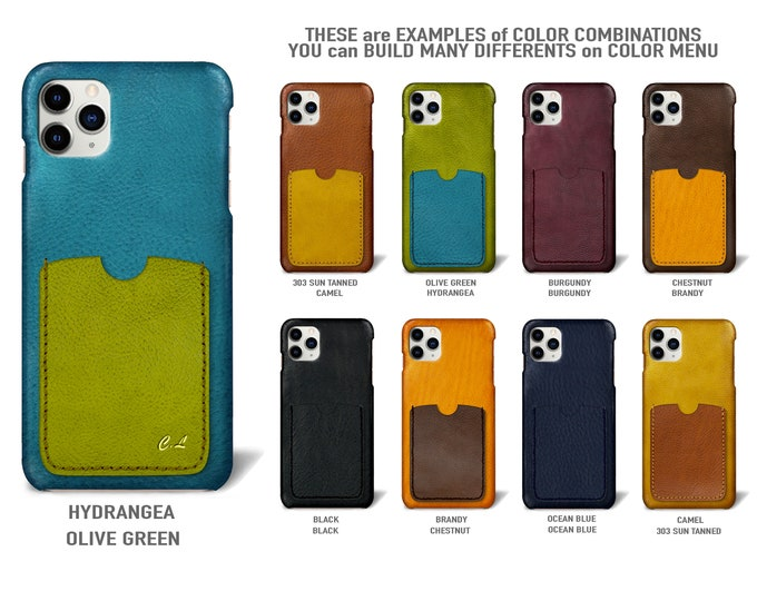 "iPhone 11 Pro Max display 6.5"" leather case 1 vertical card slots Type 2 choose colors"