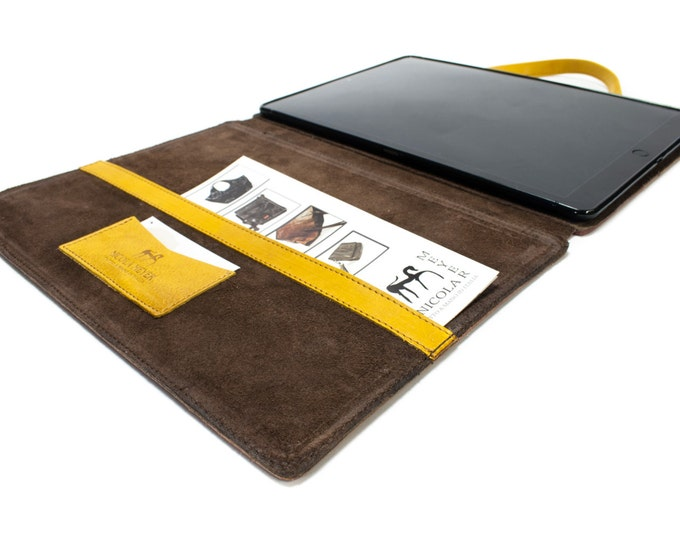 "iPad PRO 12.9"" 2018 3rd gen A1876 A1895 A1983 A2014 PORTFOLIO leather case genuine leather as protection choose Body and Accent color"