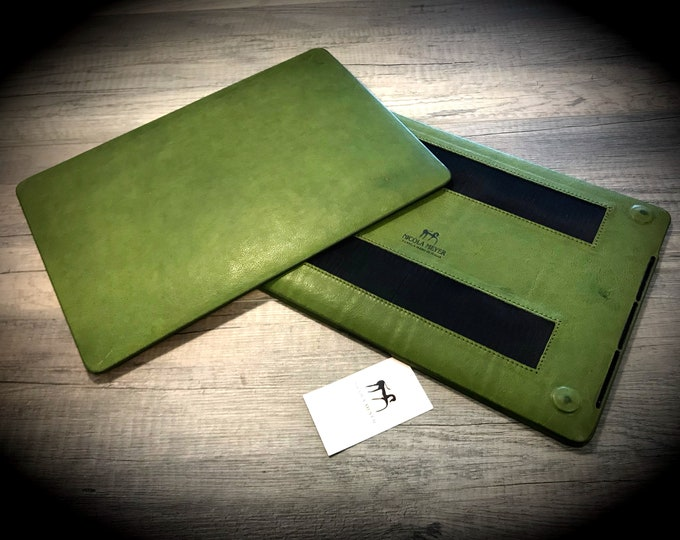 "MacBook 11""/12""/13""/15""/16"" Leather Hard Case made by genuine Italian leather as protection choose Color and Device"
