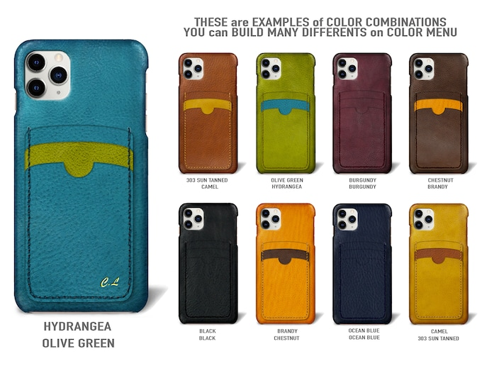 """iPhone 11 Pro display 5.8"""" leather case 3 vertical card slots Type 2 choose colors"""
