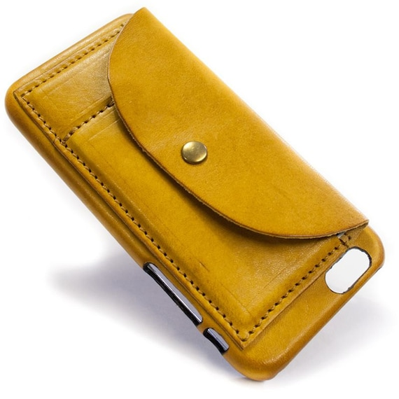 "iPhone 6S 4.7"" or 6S PLUS 5.5"" Leather Case handmade in Italy with 2 credit cards holders and a flap Device and Colour to CHOOSE"
