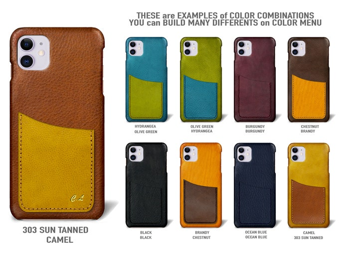 """iPhone 11  display 6.1"""" leather case 1 vertical card slot Type 1 choose colors"""