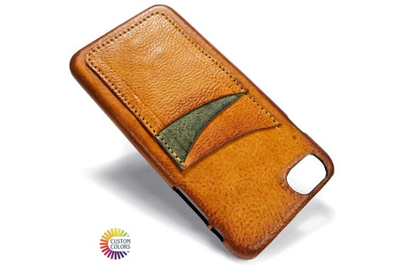 iPhone 11/11 Pro/11 Pro Max leather credit card case (choose color of Accent) col BRANDY