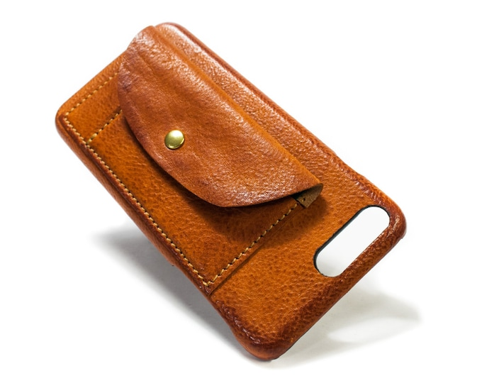 iPhone 11 11 PRO Xs Xs Max Xr X 8 and 7 Leather Case made in Italy 2 credit cards holders and a flap Device and Colour to CHOOSE