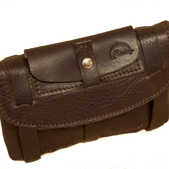 Tobacco Holder Leather Walllet Genuine Leather Case  from use as a belt pouch for bills made in Tuscany Italy