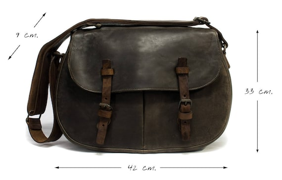 Messenger Bag Rugged Style Vegetable tanned Leather rusted metal accessories lined by suede Italian Made color BRUCIATO