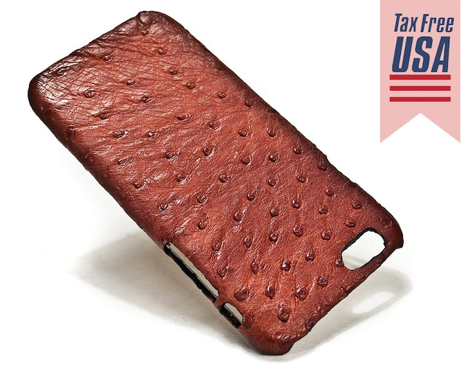 """Apple iPhone Genuine OSTRICH Leather Case for NEW iPhone X 8 7 6 4.7"""" & PLUS 5.5"""" iPhone SE5s Choose the Color"""