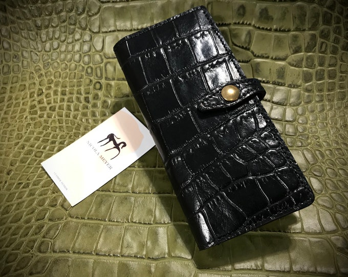 Samsung Galaxy Z FOLD 2 Calfskin Leather Pritned Alligator Pattern Flip Book Bifold Case natural leather to use as protection colour CHOOSE