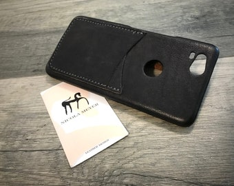 NEW For SALE 1 Piece Google Pixel 2 small Italian Leather Case 2 cards slots to use as protection color Dark Grey