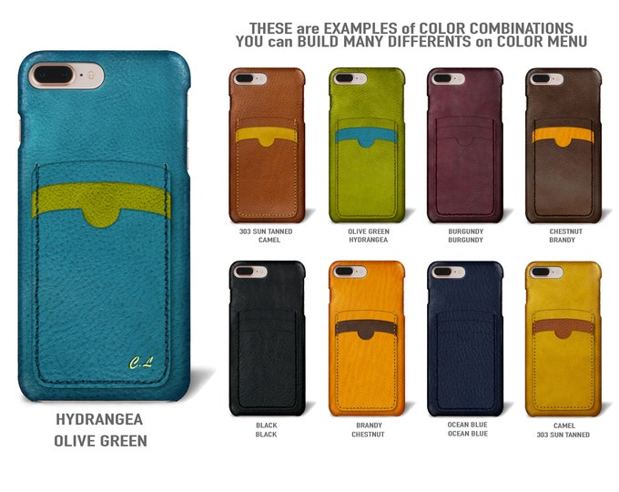 """iPhone 8 and 7 display 4.7"""" Italian Leather Case with 3 vertical SLOTs Type 2 choose the color of BODY and ACCENT"""
