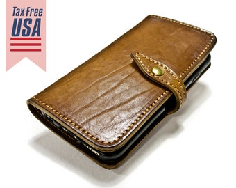 NEW iPhone 13/12/11/Xs/X/8/7/6 Leather Case Flip Wallet Bifold Style for iPhone CHOOSE Device and Color