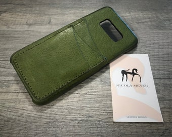 NEW for SALE Only 1 Piece Samsung Galaxy S8 Leather Case 3 slots genuine natural leather to use as protection Olive Green