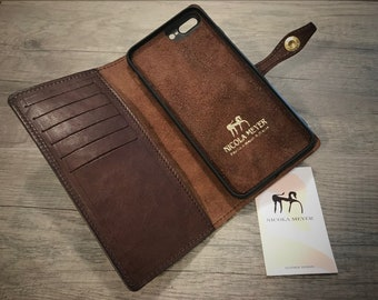 "NEW FOR SALE 1 Piece iPhone 8 7 Plus 5.5"" Italian Leather Case bifold cards holder flip book Color Castagno"